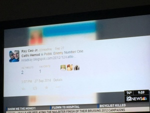 Picture of a television screen with an image of a tweet on it.